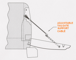 Adjustable Tailgate Cable Support Patent Image Open